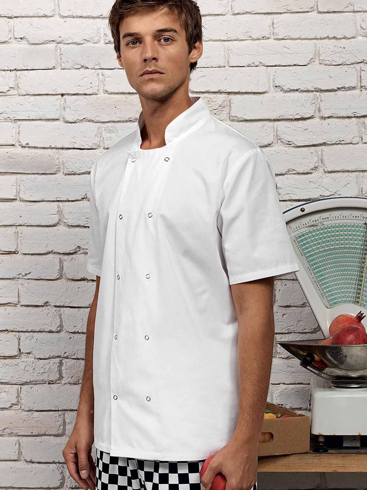 Unisex Premier Giacca da Chef Maniche Corte Bottoni Automatici